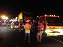 Crews unloaded hundreds of boxes of burnt french fries from a big rig that caught fire on Interstate 80.