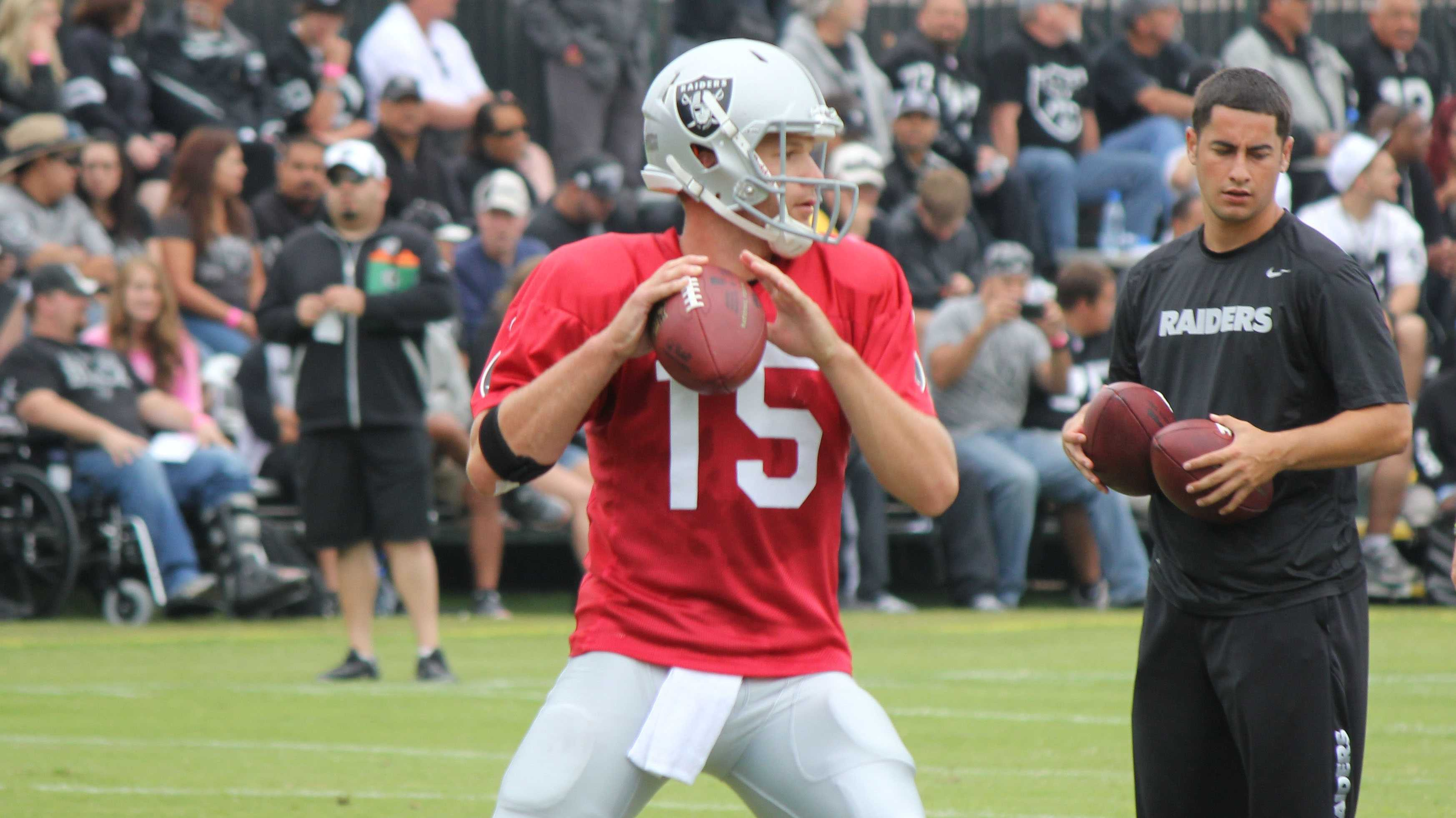Matt Flynn, a free agent signing by the Raiders during the off-season, gets in some reps during training camp.