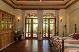 One of the bedrooms has double French doors.
