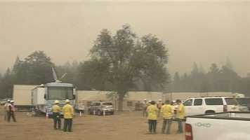 The Rim Fire in Tuolumne County has broken fire containment lines. Flames are bearing down base camp on Wednesday.
