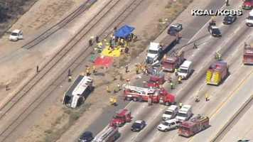 Los Angeles County fire officials say 50 people have been injured in a tour bus crash along a Southern California freeway.