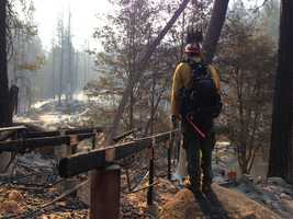 A firefighter surveys the damage and looks for hotspots at the Berkeley-run Tuolumne Family Camp, which was leveled by a wall of fire Sunday.