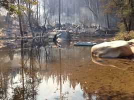 The Rim Fire, as it's called, burning at and around the Yosemite National Forest, torched the camp Sunday. This photos shows what remains of the beloved Berkeley-run Tuolumne Family Camp.