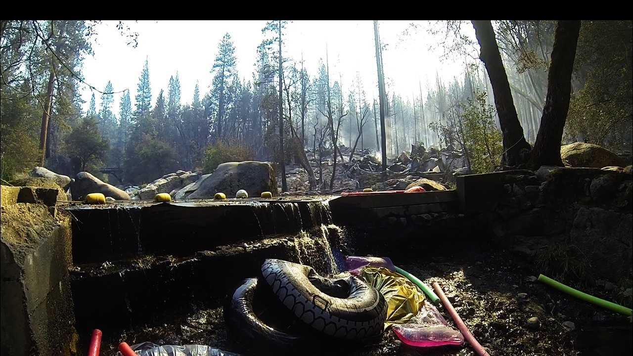 The remnants of Tuolumne Family Camp after the Rim Fire ravaged the camp, owned and operated by the city of Berkeley.