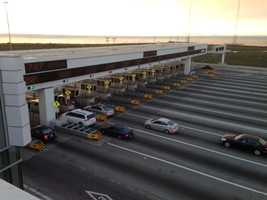 Cars pass through the toll plaza just before the Bay Bridge closure (Aug. 28, 2013).