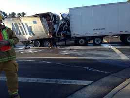 A person driving a semitruck was killed Tuesday after crashing into another vehicle on Highway 12 in Suisun City.