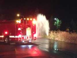 A broken fire hydrant in West Sacramento sent a geyser of water 30-40 feet high into the air during the early-morning hours.