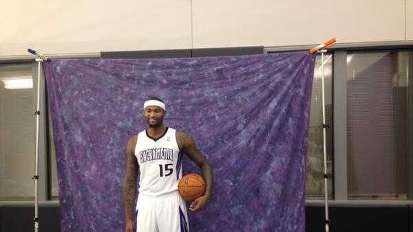 DeMarcus Cousins poses at media day for the Sacramento Kings.