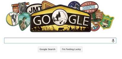 To help celebrate Yosemite's 123rd anniversary, people who use Google were greeted by a special park doodle on the search engine's home page Tuesday.