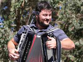 Accordian player James Felice of the Felice Brothers performs at Hardly Strictly Bluegrass in San Francisco's Golden Gate Park on Friday, Oct. 4.