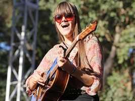 Klara Söderberg of the Swedish folk duo First Aid Kit performs at Hardly Strictly Bluegrass in San Francisco's Golden Gate Park on Friday, Oct. 4.