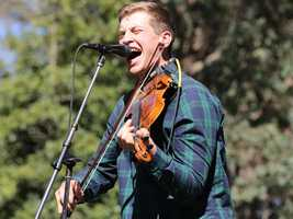 Fiddle player Greg Farley of the Felice Brothers performs at Hardly Strictly Bluegrass in San Francisco's Golden Gate Park on Friday, Oct. 4.