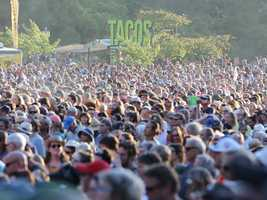 Music fans crowd into Hellman Hollow at Hardly Strictly Bluegrass in San Francisco's Golden Gate Park on Friday, Oct. 4.
