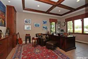 The home office provides plenty of space to think, plan and work on any project.