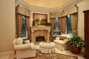 The master bedroom features this fireplace.