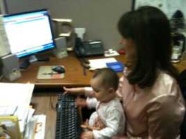 This photo was taken during my first night back to work after my maternity leave. I am sometimes asked about the work/life balance issue, and to me it comes down to this: I love both my roles as a mom and as a journalist.