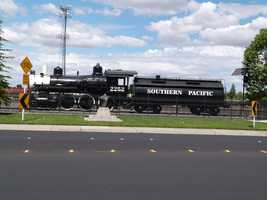A restored Southern Pacific train car can be viewed at the Atlantic and Vernon street intersection.