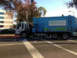 Sacramento police were investigating a collision between a garbage truck and a bicyclist Wednesday morning.