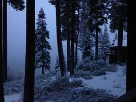 A fast-moving band of moisture dropped a blanket of snow over the Sierra.