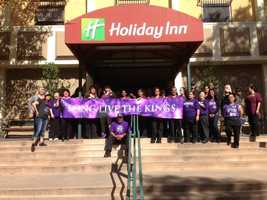 The staff at the Holiday Inn in Sacramento show their support for the Sacramento Kings.