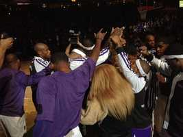 The Kings huddle up before the start of their game against the Denver Nuggets Wednesday night. (Oct. 30, 2013)