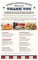 Applebee's locations are offering free entrees to veterans and active duty personnel on Monday (Call ahead to confirm)