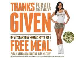 Veterans and active duty military get a free meal at Hooters on Monday (Call ahead to confirm)