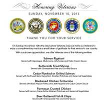 McCormick and Schmick's locations are offering veterans a free meal from a special menu on Sunday (Call ahead to confirm)