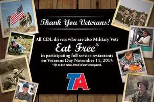 TravelCenters of America are offering a free meal to veterans on Monday. (Call ahead to confirm)
