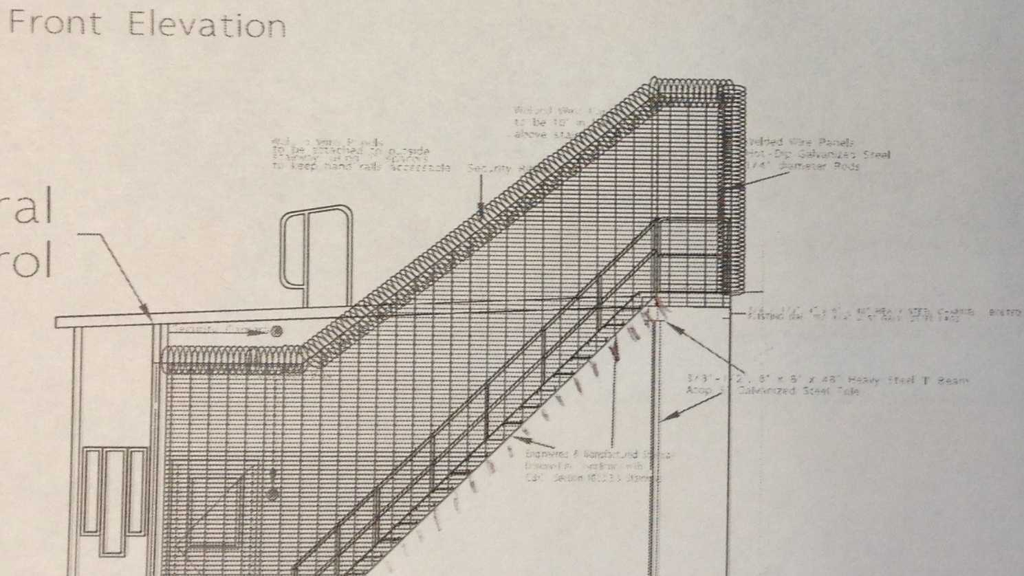 A blueprint design of the 20 step stairwell that Mule Creek Prison says will cost $600,000.