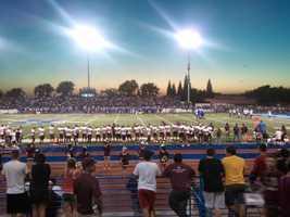 #13 - Stadium lights shine down on the Rocklin Thunder football field.