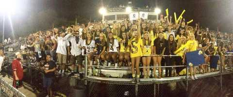 #10 - This panoramic picture shows the stands filled with the Oak Ridge Blue Crew at a Trojan's football game.