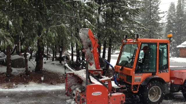 A storm that swept through the Sierra early Wednesday dropped snow in areas above 6,000 feet.