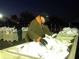 The Sacramento Food Bank distributes 7,000-plus turkeys to families in need Monday morning.