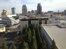 The view of the downtown plaza from the California Fruit Building (Nov. 27, 2013).