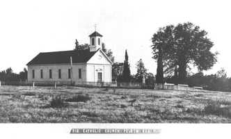 St. John's Catholic Church was constructed in 1857 and was the first house of worship in Folsom. It is also one of the oldest surviving buildings in the city.