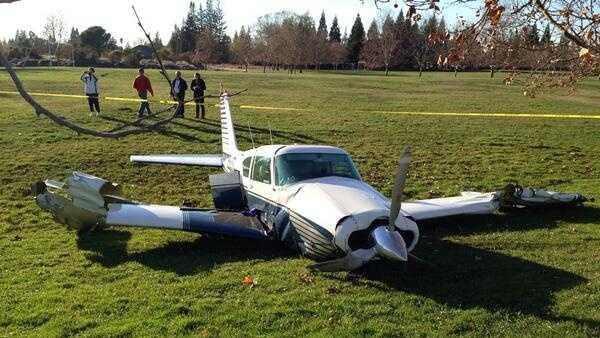 This plane made an emergency landing at a Fair Oaks park on Thursday. (Dec. 5, 2013)