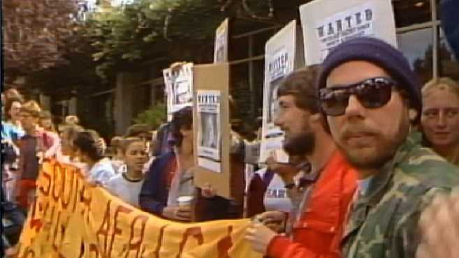 Students demonstrated in favor of divestment from South Africa at the UC Regents meeting on July 18, 1986.
