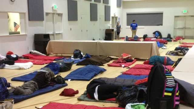 People sleeping at the Capital Christian Center