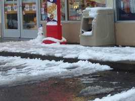 It was a slushy mess on roadways in Placerville Saturday morning after rain and snow fell overnight.