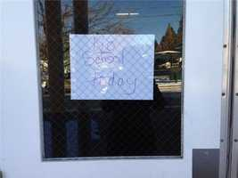 Some schools were closed on Monday because of the cold weather. Grass Valley Charter School posted a no school sign on the door.