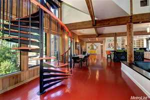 This home features post beam construction.
