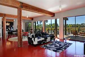 You can enjoy the views of the Sacramento River from the comfort of the living area.