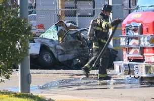 This photo was taken after the driver of a stolen car crashed and died in Sacramento following a short police chase.