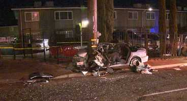 A driver died overnight Friday after striking two pedestrians and crashing into a pole in Carmichael, authorities said.