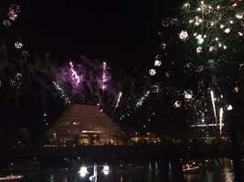 New Year's Eve revelers watch fireworks in Old Sacramento. (Dec. 31, 2013)