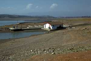 Black Butte Reservoir in Tehama and Glen counties experienced such low water levels in 1976 that it's marina rested on the dirt instead of floating on the water.