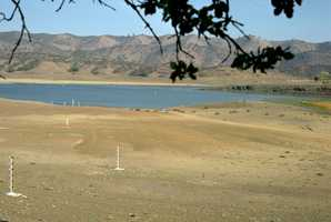 In Colusa County, low water levels at East Park Reservoir in 1976 left much of the reservoir floor exposed.
