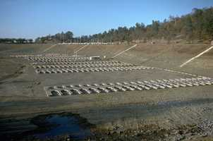 These marina boat slips at Folsom Lake in Sacramento County were unusable because of the lack of water in 1976.