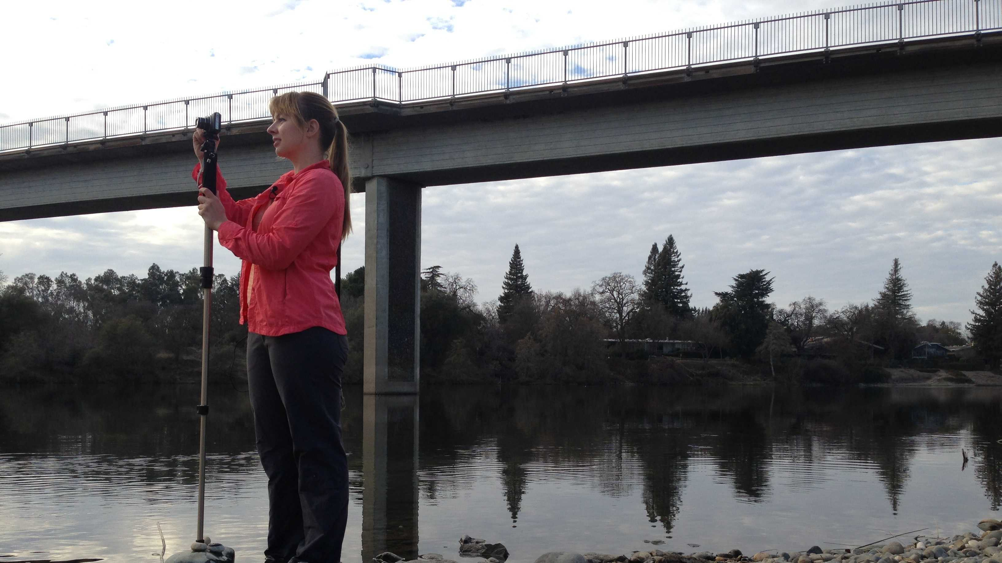 Lilly Allen of the Water Forum takes photographs Monday to document the water level of the American River.